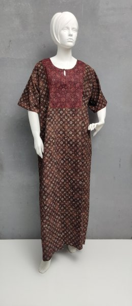 Ajrakh Handblock Printed Nighty WN227