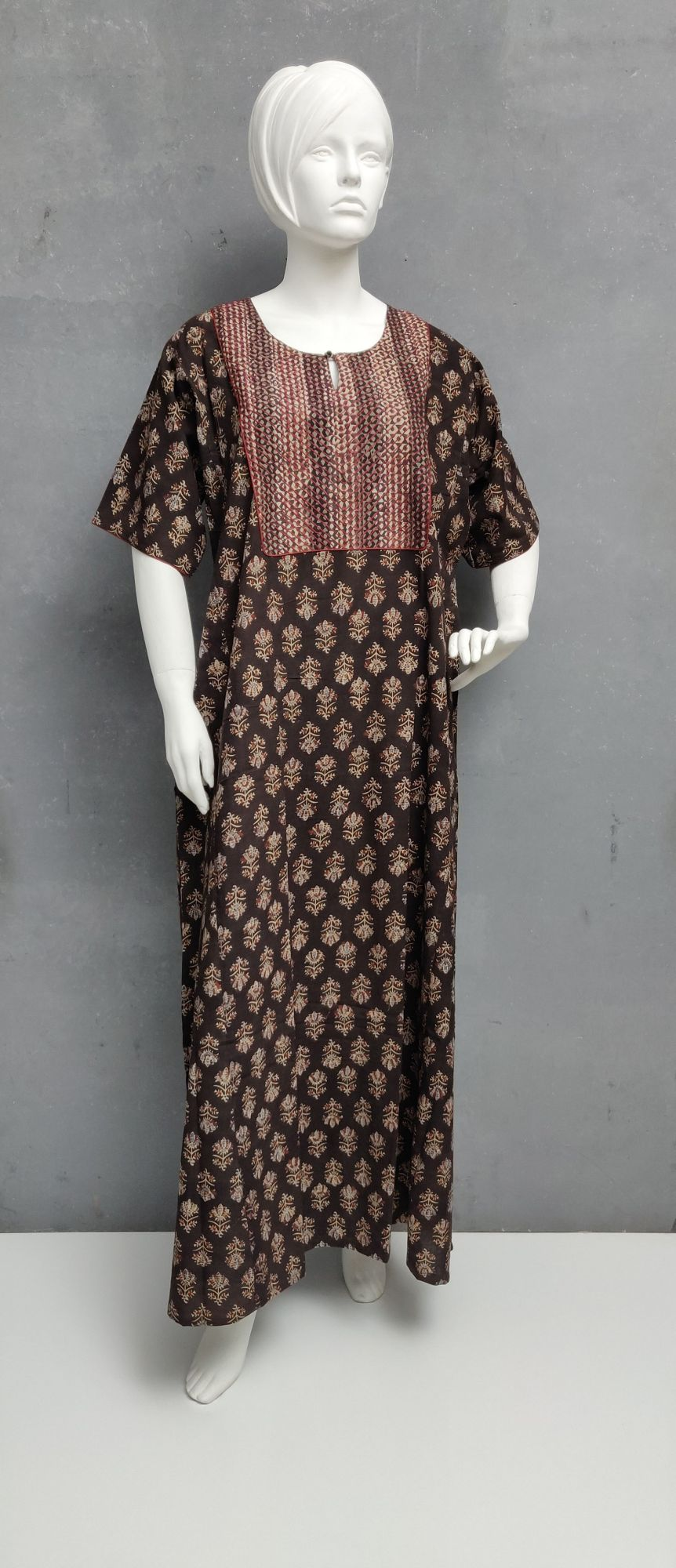 Ajrakh Handblock Printed Nighty WN229