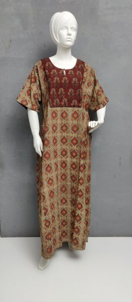 Ajrakh Handblock Printed Nighty WN231