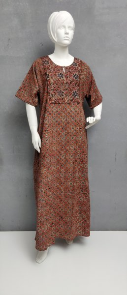 Ajrakh Handblock Printed Nighty WN234