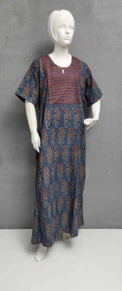 Ajrakh Handblock Printed Nighty WN246