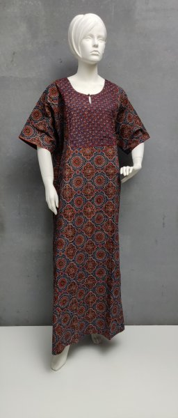 Ajrakh Handblock Printed Nighty WN268