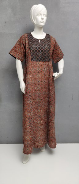 Ajrakh Handblock Printed Nighty WN287