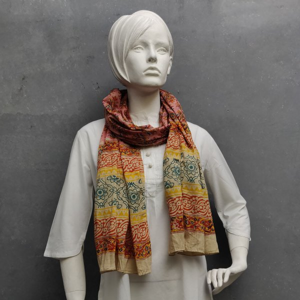 Handblock Printed Multi Colour Stole WST72