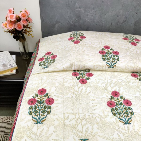Mughal Pink Floral Butta Single Bedsheet