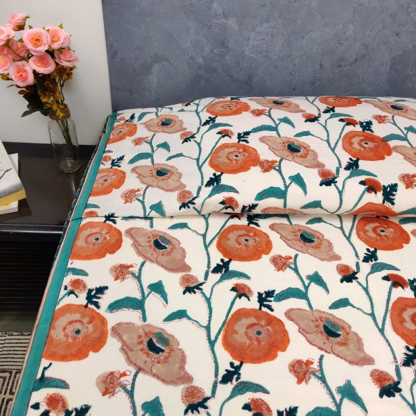 Orange Floral King Size Bedsheet