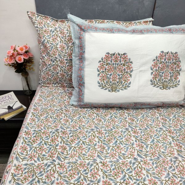 Peach and Light Blue Double Bedsheet