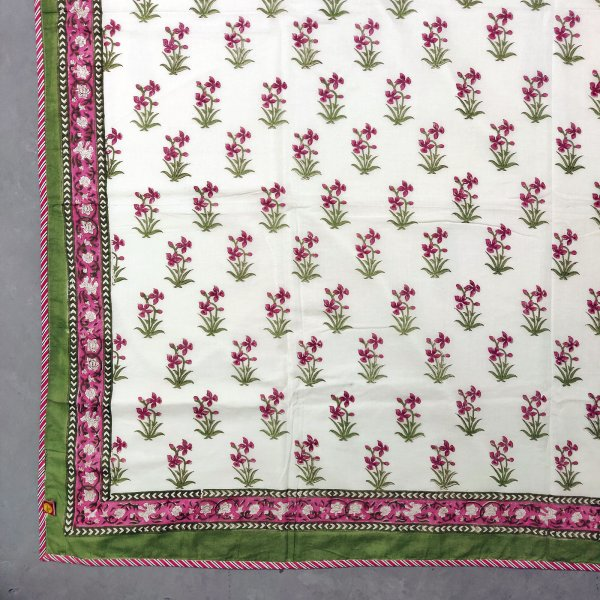 Pine Tree and Floral Motif Single Size Dohar