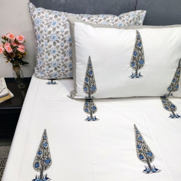 Pine Tree with blue flowers Double Bedsheet