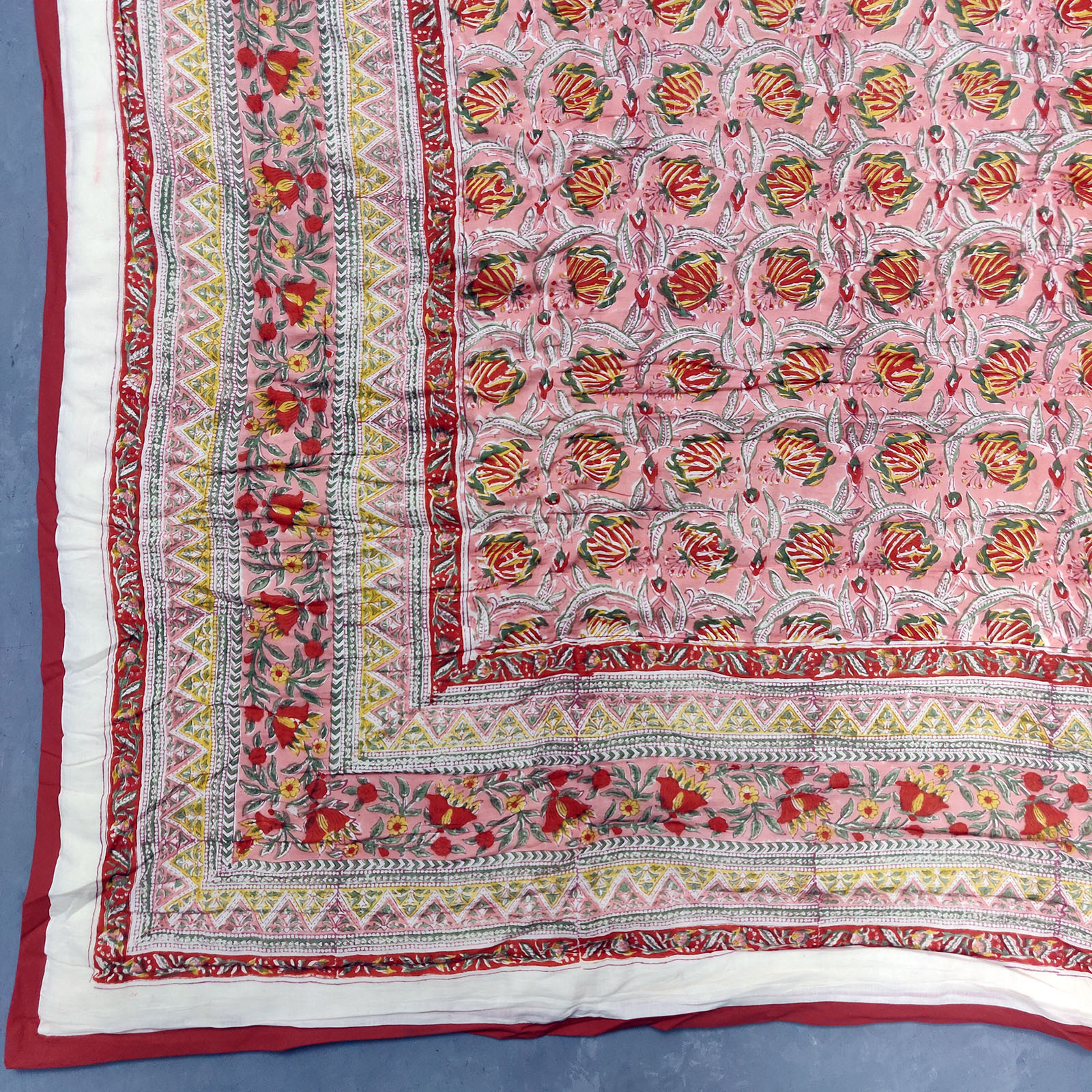 Pink and Red Floral Double Size Quilt