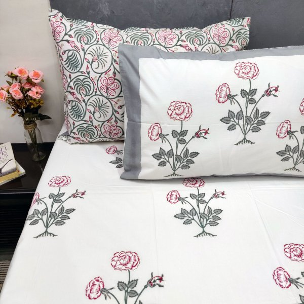 Pink Floral Bouquet Butta Double Bedsheet