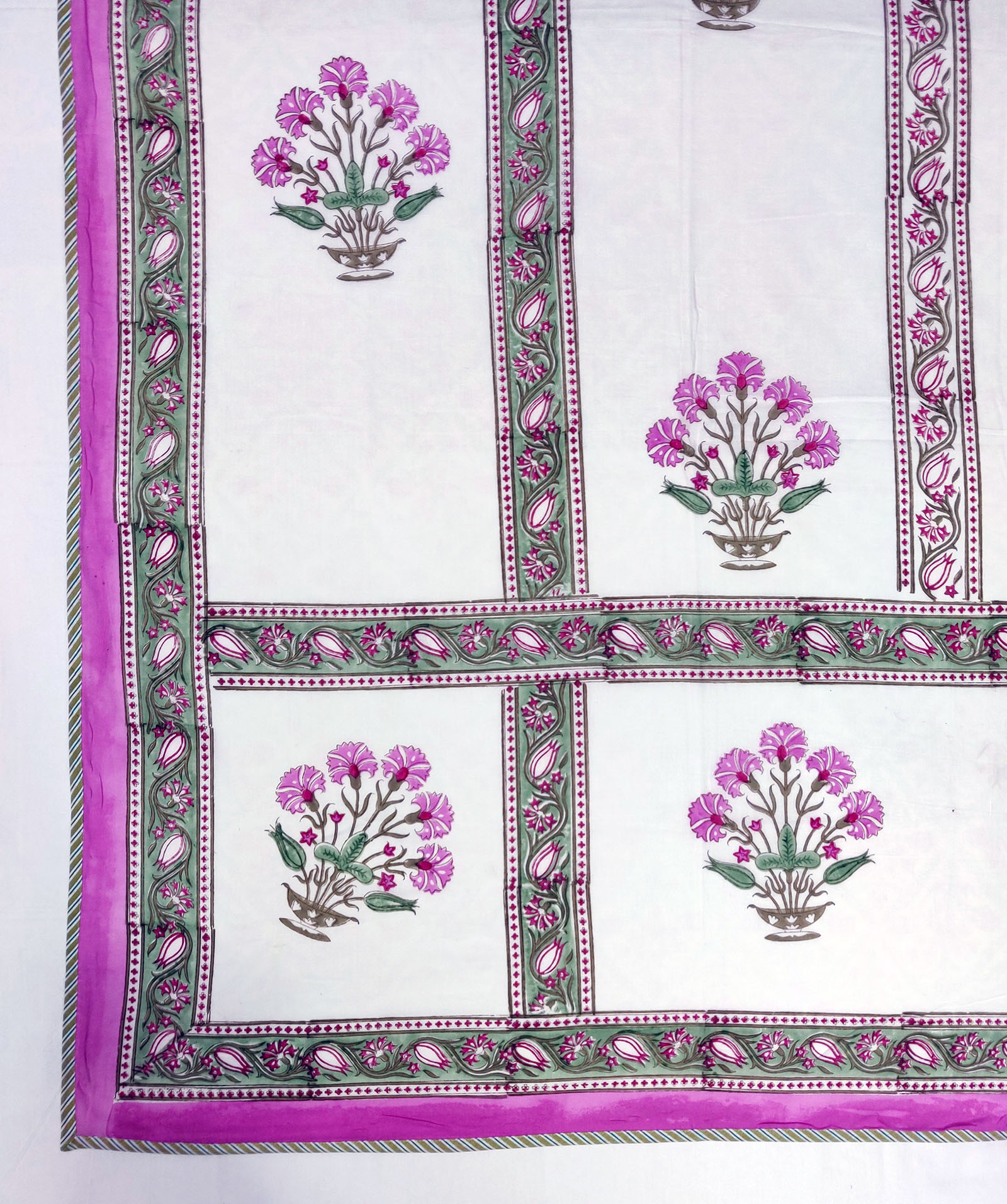 Pink Green Floral Bouquet Double Size Dohar