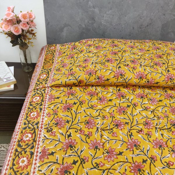 Pink Floral Buttas on Yellow Based Single Bedsheet