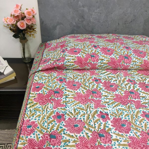 Pink Floral Design Single Bedhseet