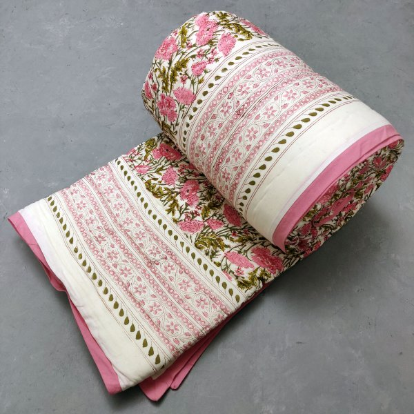 Pink Floral Double Size Quilt