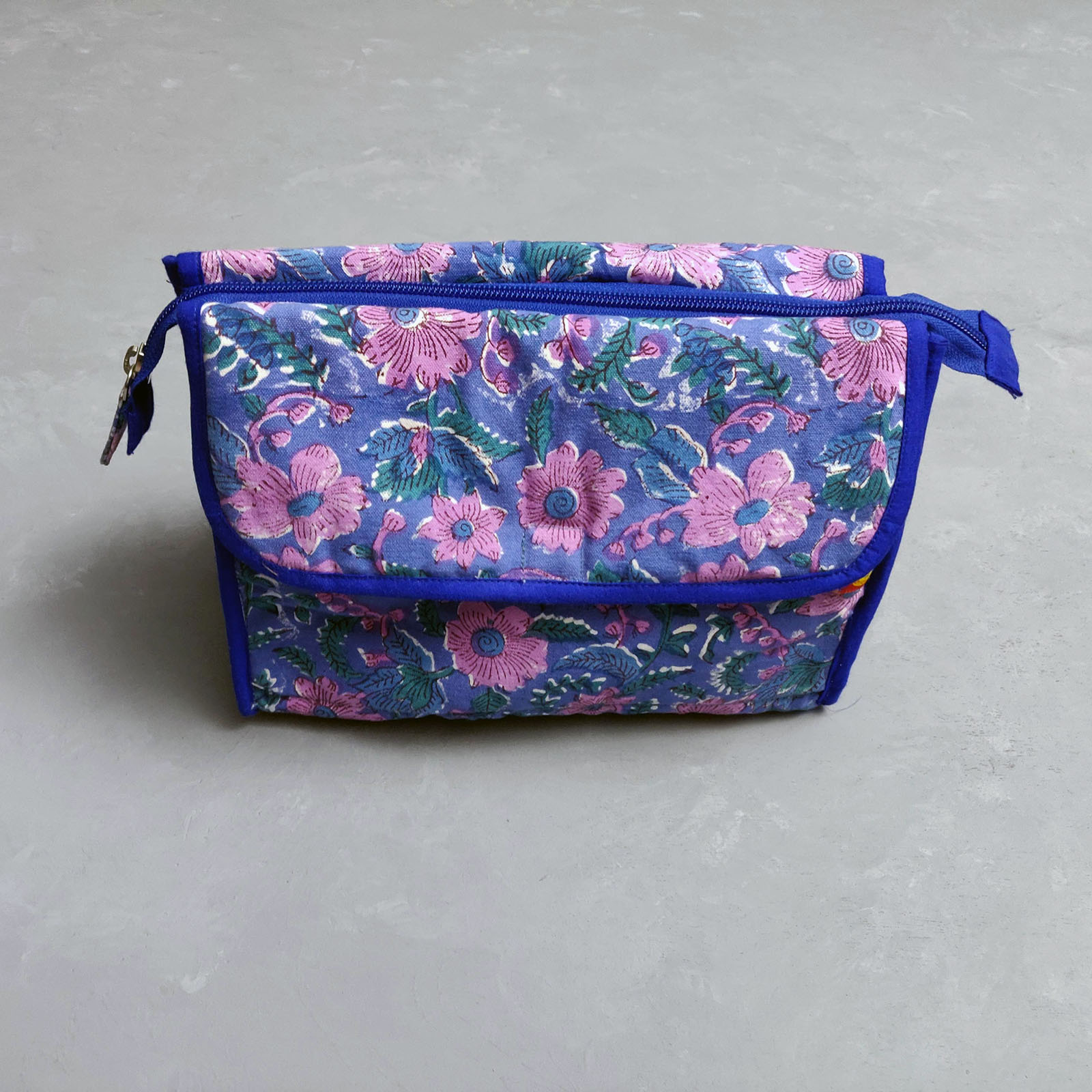 Pink Floral Printed Twin Toilet Pouch