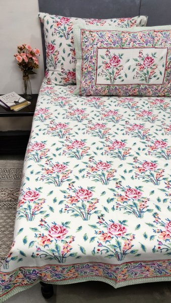 Pink Rose Double Bedsheet