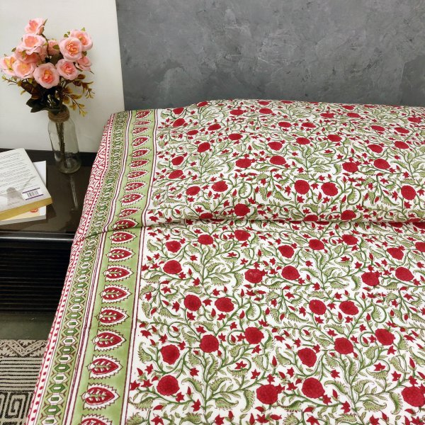 Red Floral Butta Design Single Size Bedsheet