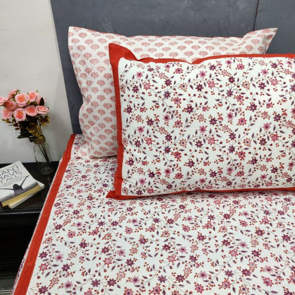 Red Floral Double Bedsheets