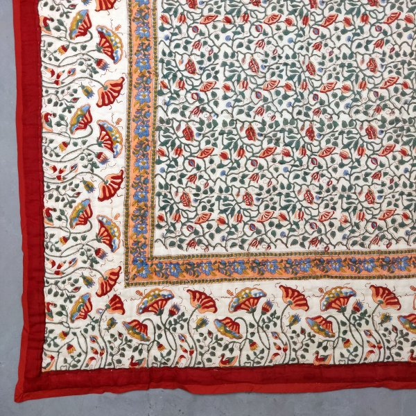 Red Floral Motif Single Size Quilt