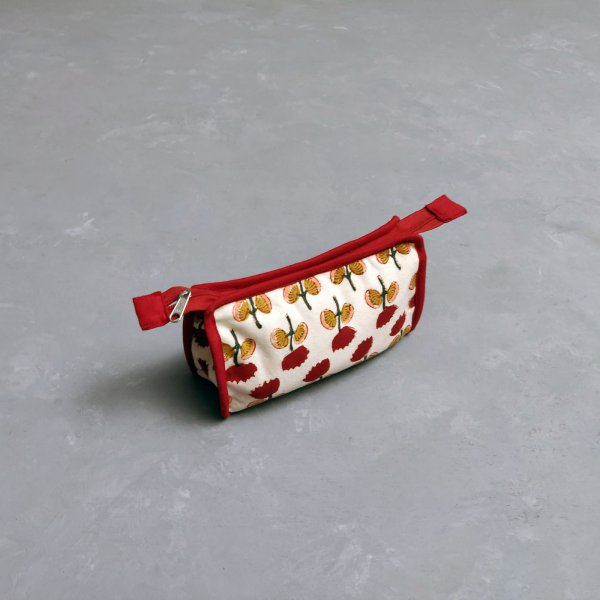 Red Floral Small Toilet Pouch