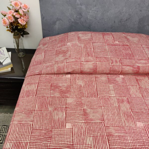 Red Stripe King Size Bedsheet