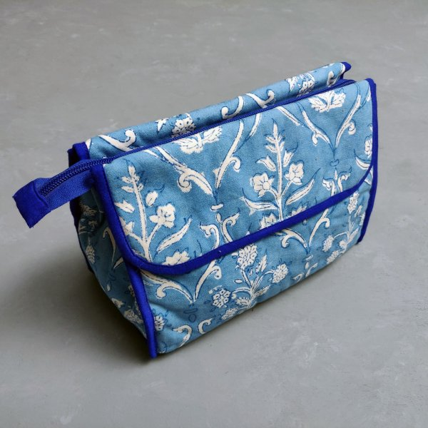 Sky Blue Floral Printed Twin Toilet Pouch