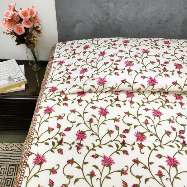 Small Pink Floral Print Single Size Bedsheet
