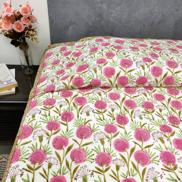 Spring Time Pink Flowers Single Bedsheet