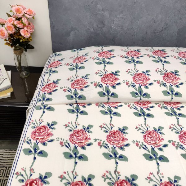 Victorian Rose Design King Size Bedsheet