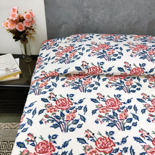Victorian Rose Floral  Single Size  Bedsheet