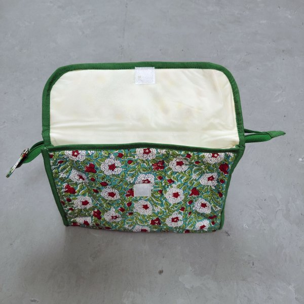 White Floral Printed Green Based Twin Toilet Pouch
