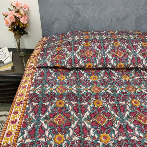 Yellow and Red Floral King Size Bedsheet