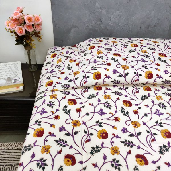 Yellow and Red Floral Single Size Bedsheet