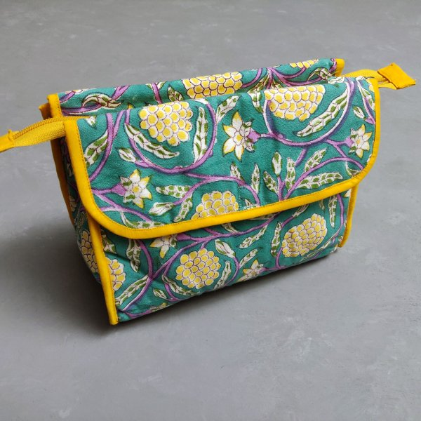 Yellow and Turquoise Twin Toilet Pouch