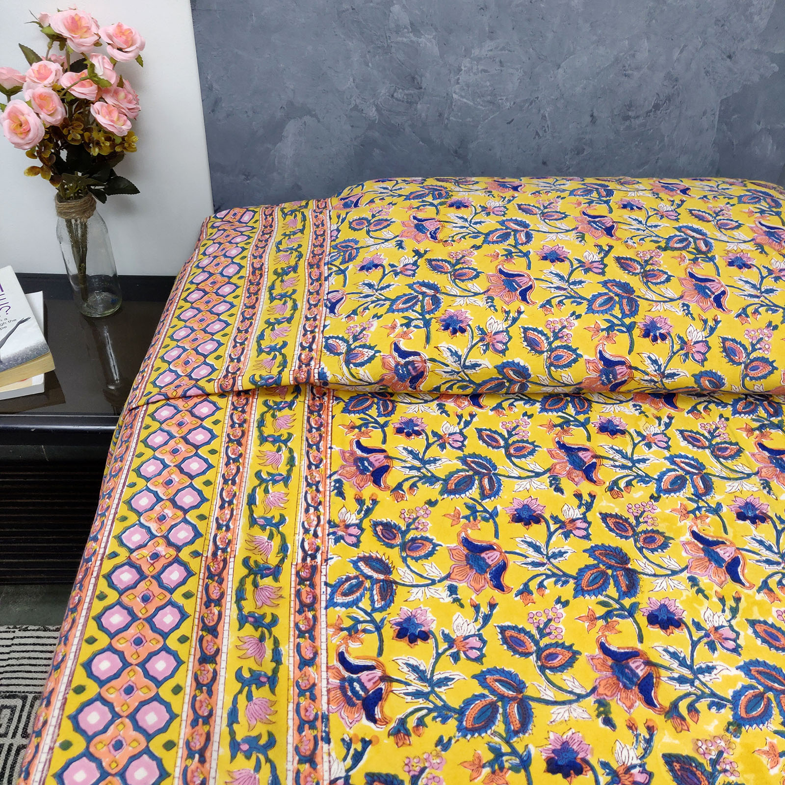 Yellow Based Floral Design King Size Bedsheet