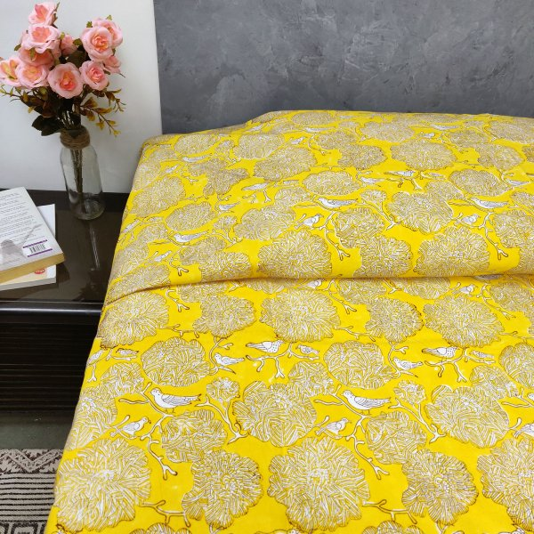 Yellow Based Flowers and Bird Design Single Size Bedsheet