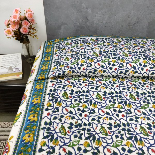 Yellow Blue Green Floral Print Single Size Bedsheet