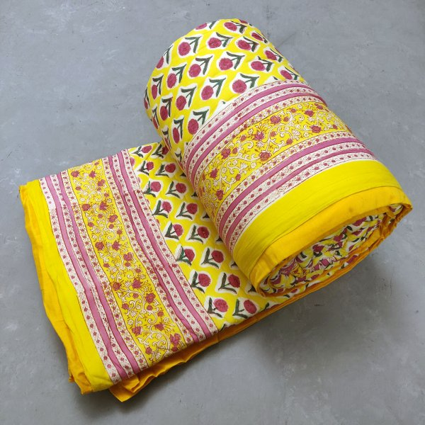 Yellow Floral Double Size Quilt