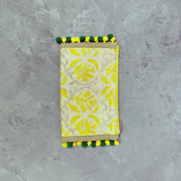 Yellow Floral Print on Beige Based Wallet