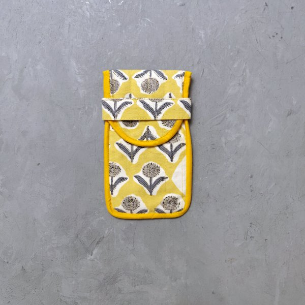 Yellow Floral Printed Spec or Mobile Pouch