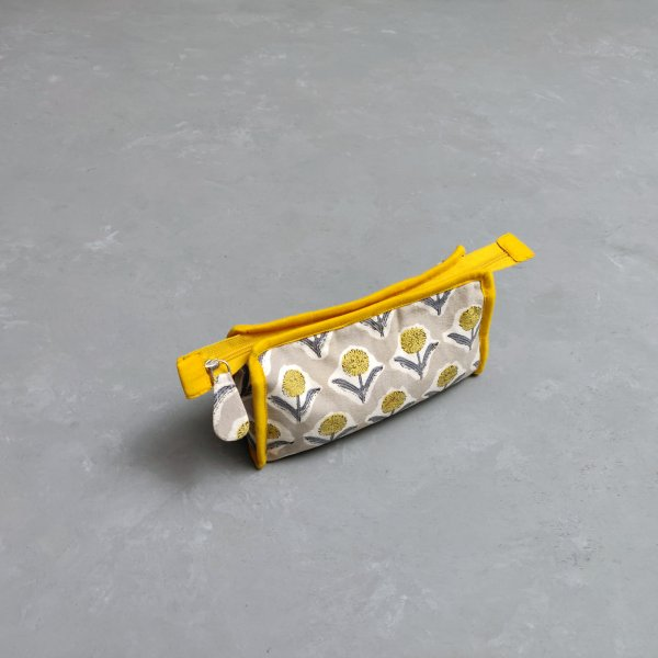 Yellow Floral Small Toilet Pouch