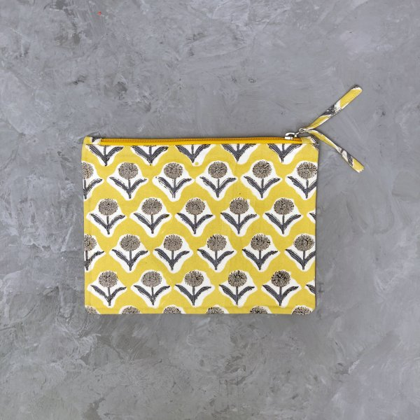 Yellow Medium Canvas Pouch