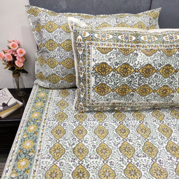 Yellow Small Butta Double Bedsheet
