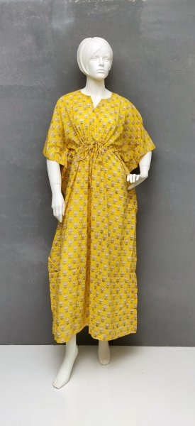 Yellow Small Butta Kaftan